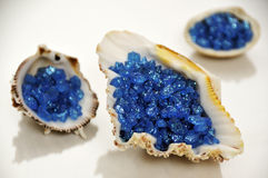 Bath salt. Blue bath salt in sea shells, isolated on white Royalty Free Stock Photo