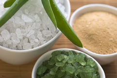 Bath salt and aloe vera Stock Photo