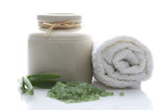 Bath salt and aloe vera Stock Image