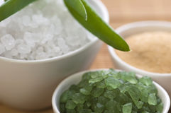 Bath salt and aloe vera Royalty Free Stock Images