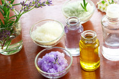 Bath salt with aromatherapy oil. On wooden board Stock Photography
