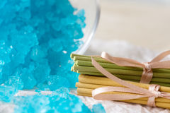 Bath Salt and Aromatic Sticks Royalty Free Stock Photography