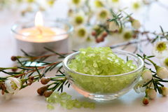 Bath salt in bowl Royalty Free Stock Photo