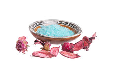 Bath salt in bowl with pink rose Royalty Free Stock Images