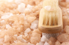 Bath salt and brush Stock Photography