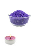 Bath salt and candle Stock Images