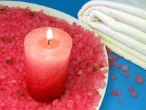Bath salt and candle Stock Photos