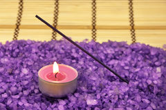 Bath salt, candle and insence stick Stock Photography