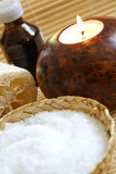 Bath Salt ,Candle and Massage oil. In a Zen Style Spa Stock Photos