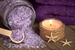 Bath salt with candle and starfishes Stock Photography
