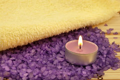 Bath salt, candle, towel Royalty Free Stock Photo