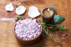 Bath salt with candles. Royalty Free Stock Images