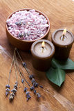 Bath salt with candles. stock photo