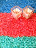 Bath salt and candles Royalty Free Stock Images