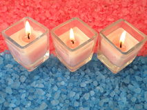 Bath salt and candles Stock Image