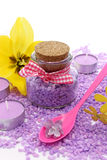 Bath salt, candles and flowers Royalty Free Stock Photos