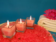 Bath salt, candles and towel Royalty Free Stock Photos
