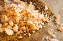 Bath salt in coconut shell Stock Photography