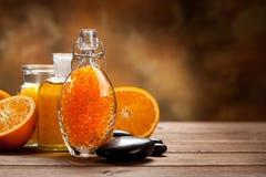 Bath salt and essential oil Royalty Free Stock Photos
