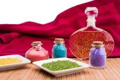 Bath salt and essential oil. Stock Photo