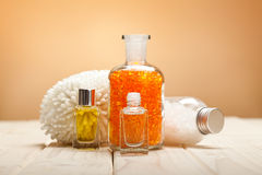 Bath salt and essential oils Royalty Free Stock Images