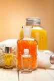 Bath salt and essential oils Royalty Free Stock Photos