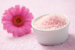Bath salt with gerbera Stock Photography