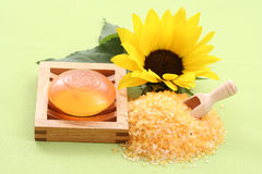 Bath salt and glycerin soap Royalty Free Stock Image