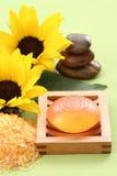 Bath salt and glycerin soap Stock Images