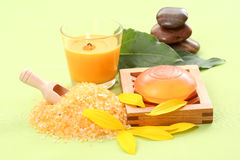 Bath salt and glycerin soap Royalty Free Stock Images