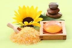 Bath salt and glycerine soap Stock Image