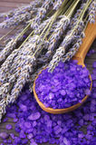 Bath salt and lavander Royalty Free Stock Photo