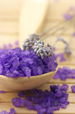 Bath salt and lavander Stock Image