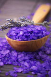 Bath salt and lavander Stock Photos