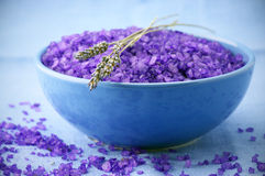 Bath salt and lavander Stock Photography