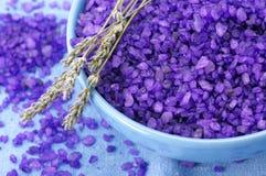 Bath salt and lavander Stock Photos