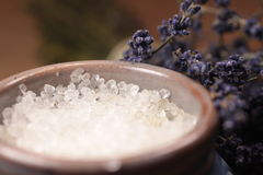 Bath salt with lavender Royalty Free Stock Photography