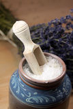 Bath salt with lavender Stock Images
