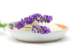 Bath salt and lavender Royalty Free Stock Photo