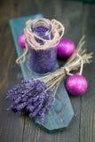 Bath salt with lavender Stock Photos