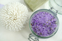 Bath salt with lavender extract and dried lavender Stock Photography