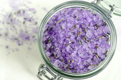 Bath salt with lavender extract and dried lavender Stock Image