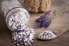 Bath salt with lavender flavour Royalty Free Stock Photography