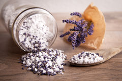 Bath salt with lavender flavour Stock Images