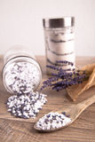 Bath salt with lavender flavour Stock Image