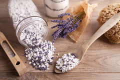 Bath salt with lavender flavour Stock Photos