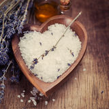 Bath Salt with Lavender Flowers Royalty Free Stock Photo
