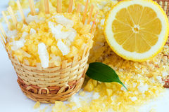 Bath salt and lemon. Lemon bath salt in basket Royalty Free Stock Photos