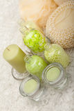 Bath salt and massage sponge Royalty Free Stock Images