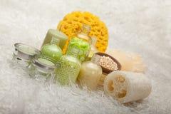 Bath salt and massage sponge Royalty Free Stock Photography